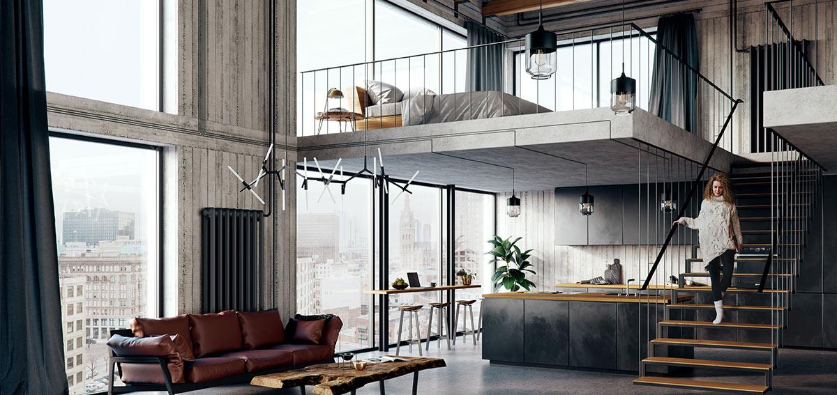 Okna Aluhaus - wnętrze w stylu loft