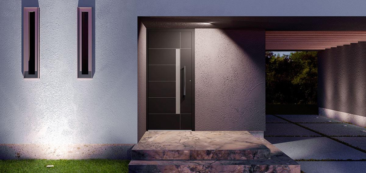 Drzwi aluminiowe z szybą - Aluhaus