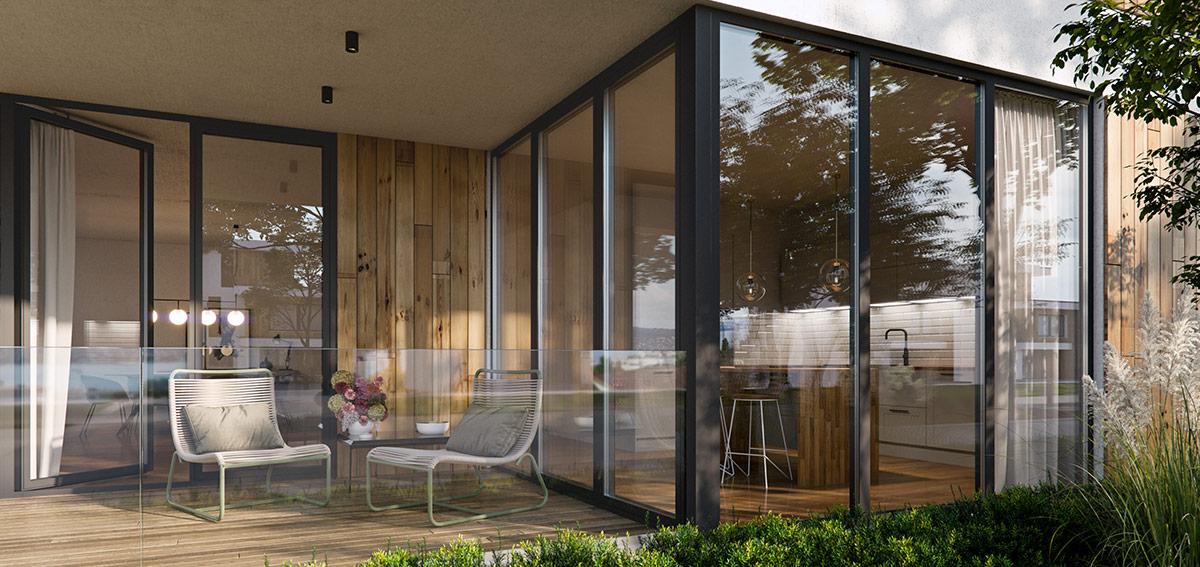 narożne okna balkonowe - Aluhaus Miru Standard